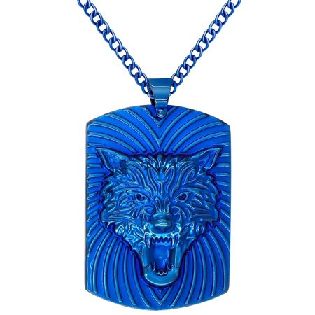 STAINLESS STEEL JEWELRY BLUE IP TONE WOLF HEAD DOG TAG PENDANT NECKLACE WITH CHAIN