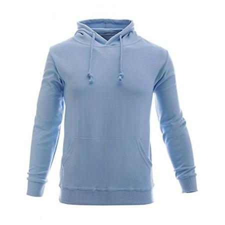 FLATSEVEN Mens Slim Pullover Hoodie Collection (HT01) Light Blue, (Light Blue Hoodie)