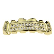 14k Gold Plated Best Grillz Two Row Side Bling Hip Hop Top Teeth Grills