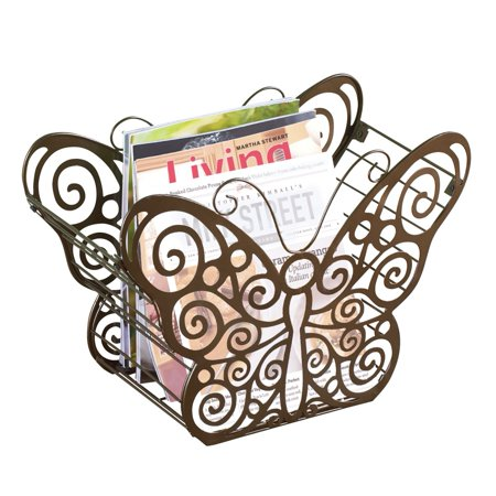 Antique Scroll Butterfly Metal Magazine Holder with Bronze Finish - Organizer for Any Room in Home, Bronze