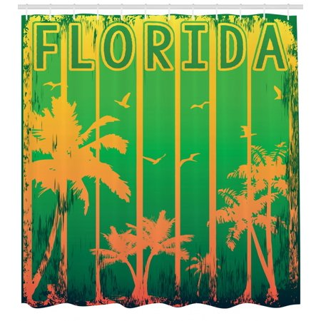 Florida Shower Curtain, Coastal City in California Worn Out Composition with Beach Trees, Fabric Bathroom Set with Hooks, 69W X 75L Inches Long, Lime Green Fern Green Orange, by Ambesonne - Ferns Long Beach