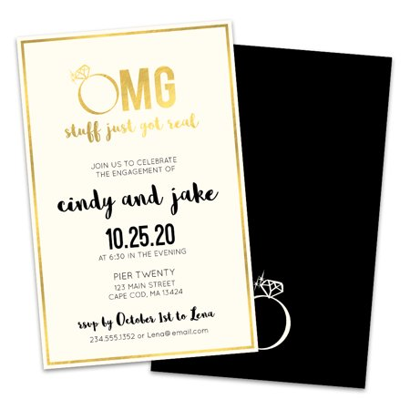 Personalized OMG Diamond Ring Engagement Party Invitations](Black And White Wedding Invitations)