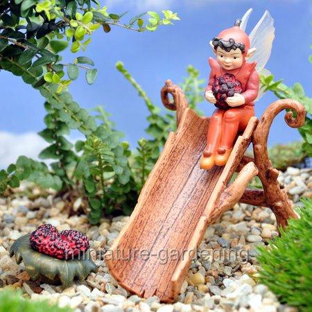 Miniature Mulberry Flower Fairy for Miniature Garden, Fairy Garden