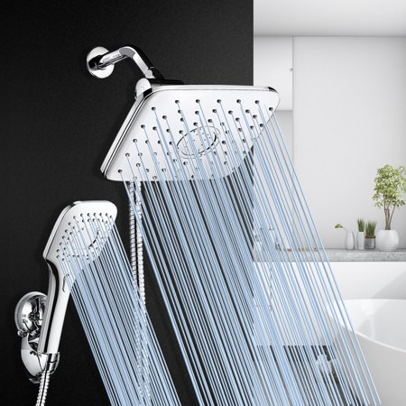 """Hotel Spa Ultra-Luxury 9"""" Square Fixed Rainfall Dual Shower Head / Rain Handheld Combo Wall-Mounted Convenient Push-Button Flow Control Home Bathroom Renovation"""
