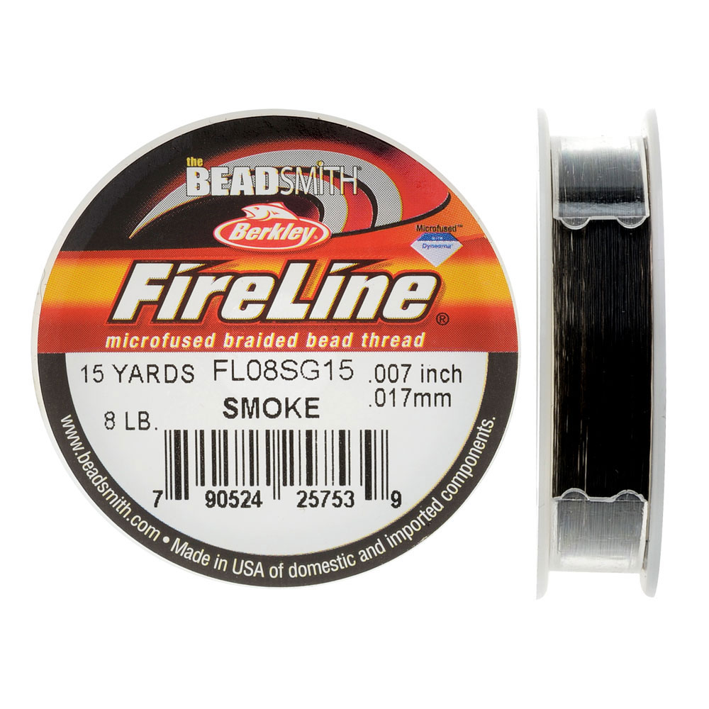 "FireLine Braided Beading Thread, 8lb Test and 0.007"" Thick, 15 Yard Mini Spool, Smoke Gray"