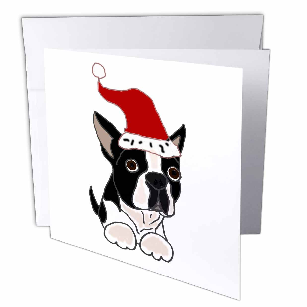 3dRose Funny Christmas Boston Terrier Dog in Santa Hat, Greeting Cards, 6 x 6 inches, set of 6
