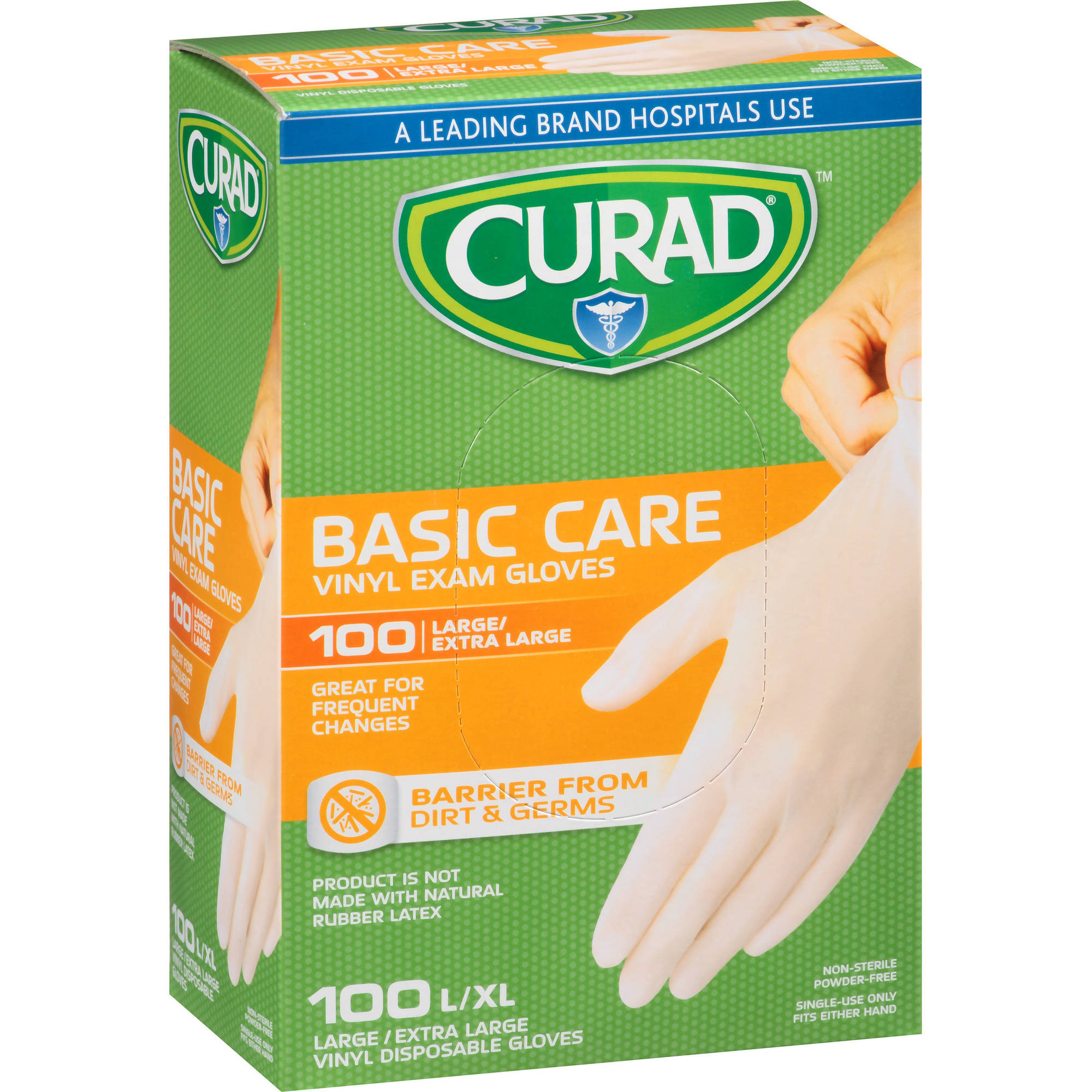 Curad Basic Care Vinyl Exam Gloves, Large/Extra Large, 100 count