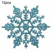12pcs Plastic Christmas Xmas Snowflake Ornaments Tiny Sparkling Sequin Glitter Snow on String Wedding Decor