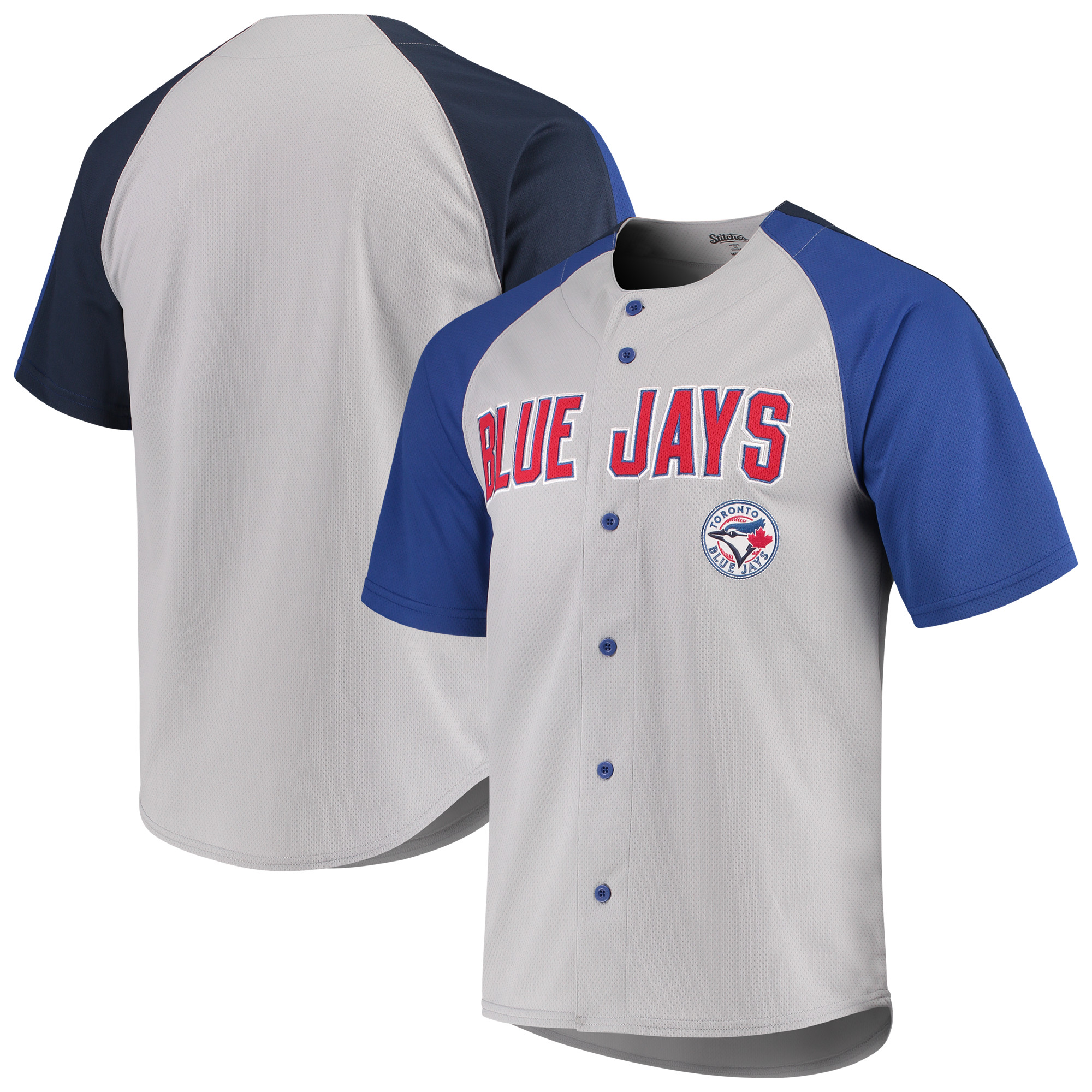 Toronto Blue Jays Stitches Lightweight Mesh Jersey - Gray/Navy