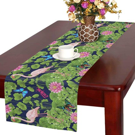 MKHERT Tropical Flamingo With Water Lily And Butterflies Table Runner Home Decor For Kitchen Wedding Party Banquet Decoration 16x72 Inch