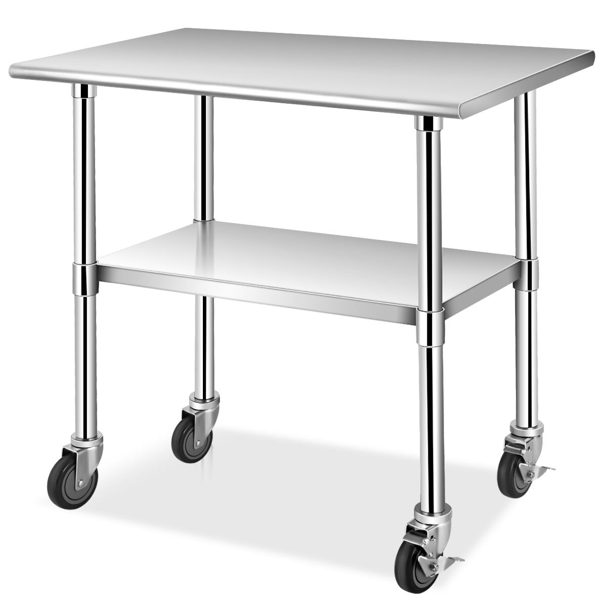 Costway 36 X 24 48 X 24 Nsf Stainless Steel Commercial Kitchen Prep Work Table W 4 Casters Walmart Com Walmart Com