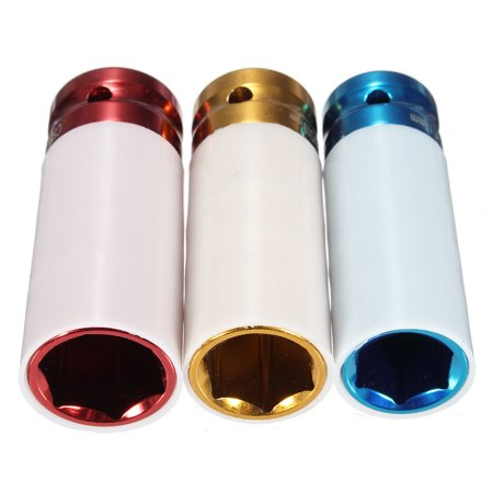 "1/2"" 3pcs 17mm 19mm 21mm Alloy Car Auto Thin Wall Wheel Deep Impact Nut Socket Driver Set - image 2 de 5"
