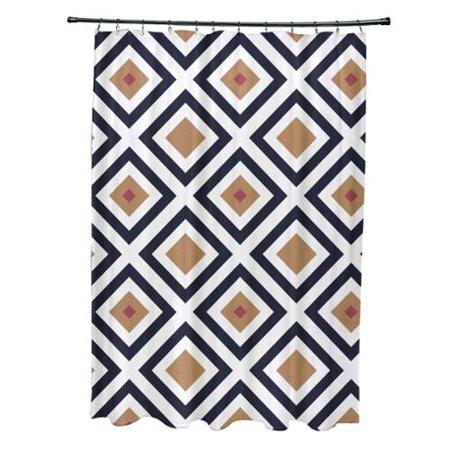 Diamond Abstract Geometric Pattern Shower Curtain Navy