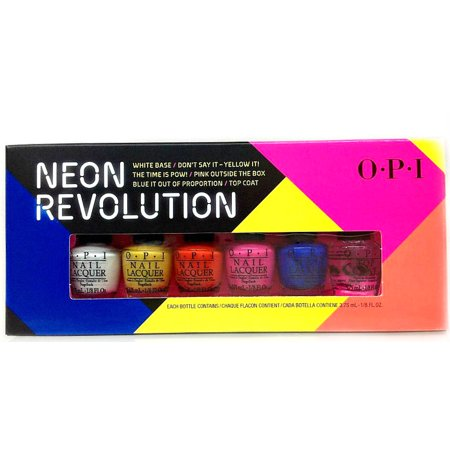 OPI Mini Nail Lacquer Collection - NEON REVOLUTION - White Base + 4 Colors + Top Coat x