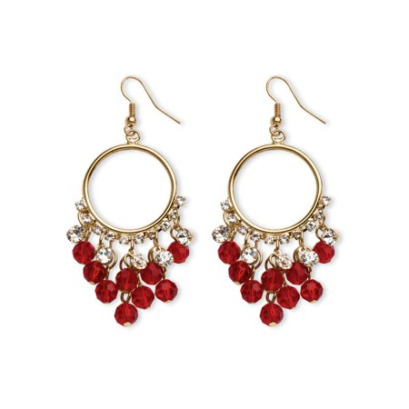 Gold Essex Crystal (Birthstone Chandelier Earrings with Crystal Accents in Yellow Gold Tone)