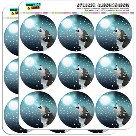 Howling Wolf Moon Snow 18 2  Planner Calendar Scrapbooking Crafting Stickers
