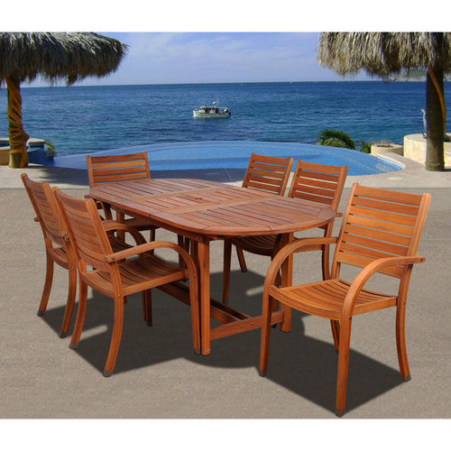 Arizona 7-Piece Eucalyptus Extendable Oval Patio Dining Room Set by INTERNATIONAL HOME