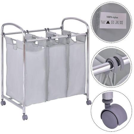 - Gymax Laundry Cart Basket Triple Bag Clothes Storage