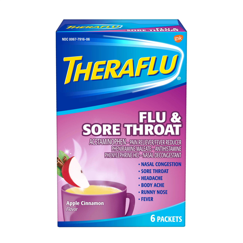 Theraflu Flu & Sore Throat Apple Cinnamon Hot Liquid Powder for Cold...
