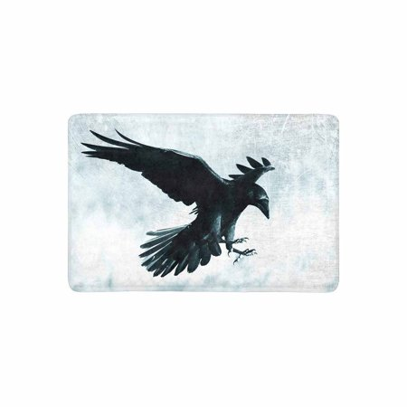 MKHERT Halloween Gothic Medieval Black Raven Bird in Moonlight Doormat Rug Home Decor Floor Mat Bath Mat 23.6x15.7 inch - Bat Decor For Halloween