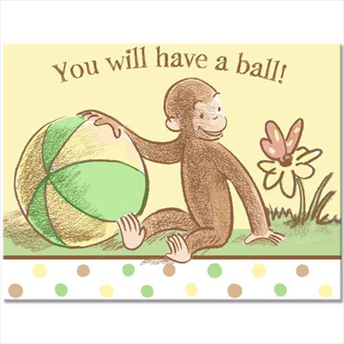 Curious George Baby Shower Invitations w/ Env. (8ct)