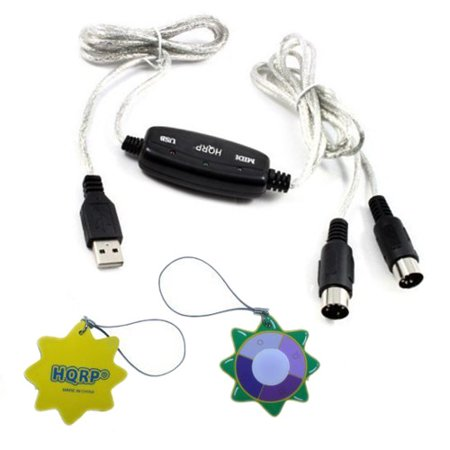 HQRP USB IN-OUT MIDI Interface Cable Converter PC to Music Keyboard Adapter  Cord for Alesis Vortex USB/MIDI Keytar Controller With Accelerometer plus