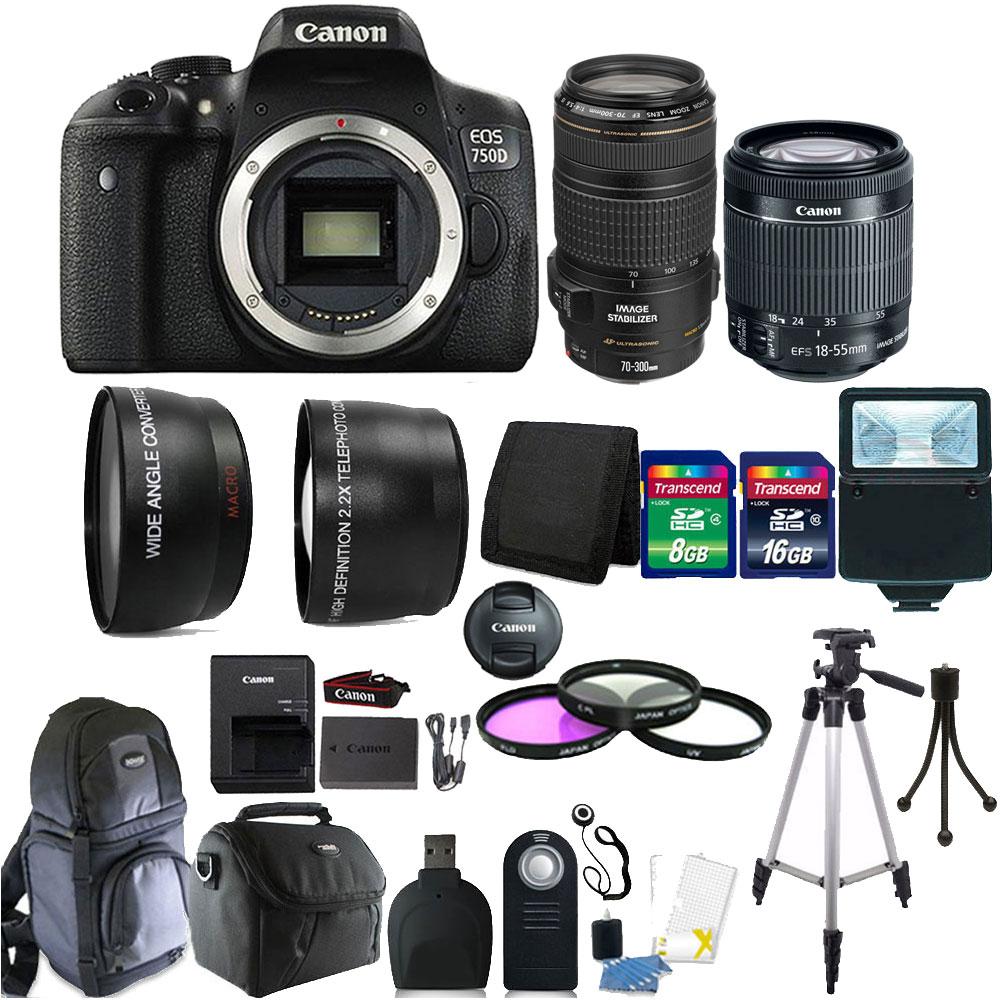 Canon EOS Rebel 750D / T6i 24.2MP Digital SLR Camera Blac...