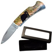 "Joy Enterprises FP20702 Fury Animal Litho Folding Pocket Knife with Presentation Box, 3.5"", Black Bear"