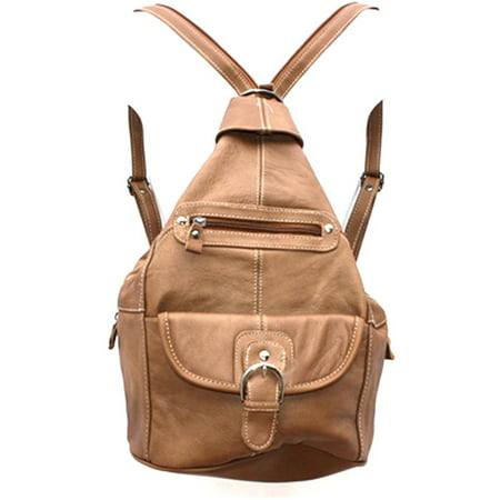 - Womens Leather Convertible 7 Pocket Medium Size Tear Drop Sling Backpack Purse Shoulder Bag