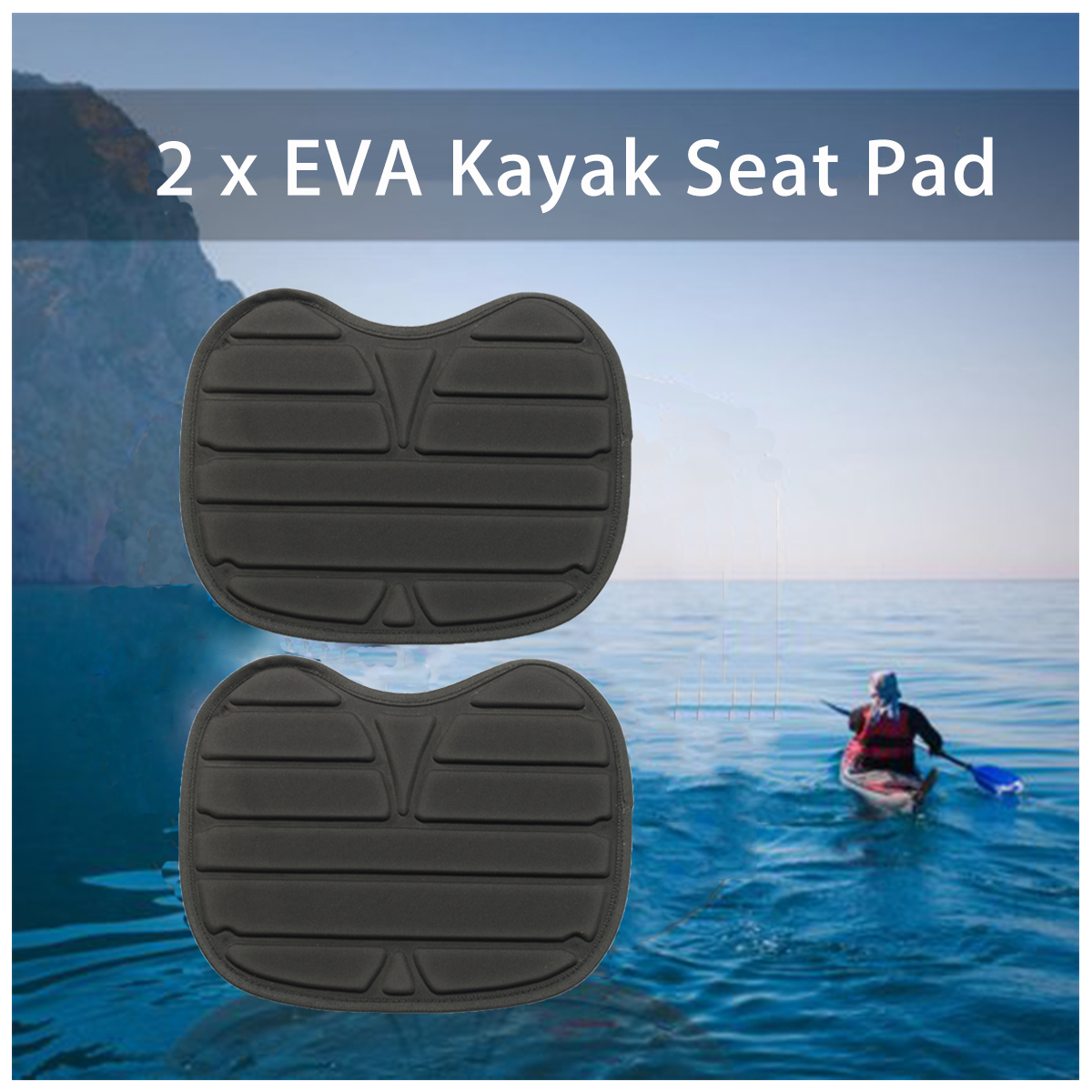 2Pcs Soft Comfortable EVA Padded Seat Cushion for Outdoor Kayak Canoe Dinghy Boat