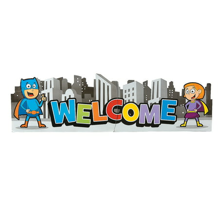 Super Hero Decorations (Fun Express - Superhero Welcome Banner - Educational - Classroom Decorations - Classroom Decor - 1)
