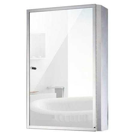 HomCom 24 in. Stainless Steel Bathroom Mirror Medicine Cabinet