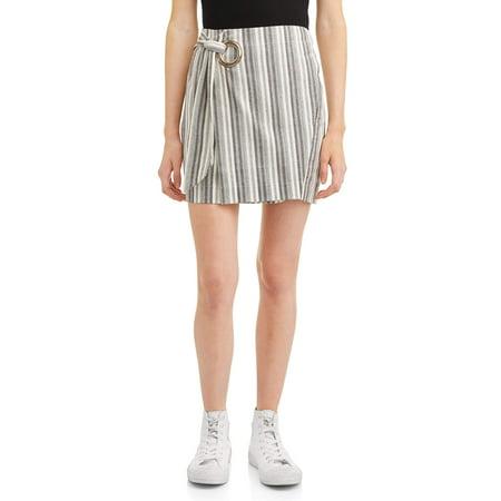 Juniors' Striped Tie Front Wrap Mini Skirt
