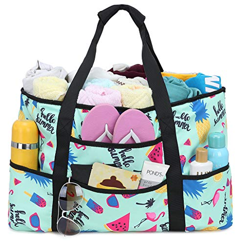 Tote bag purse fur baby carrier grocery tote art supplies flamingos and black stripes Beach bag