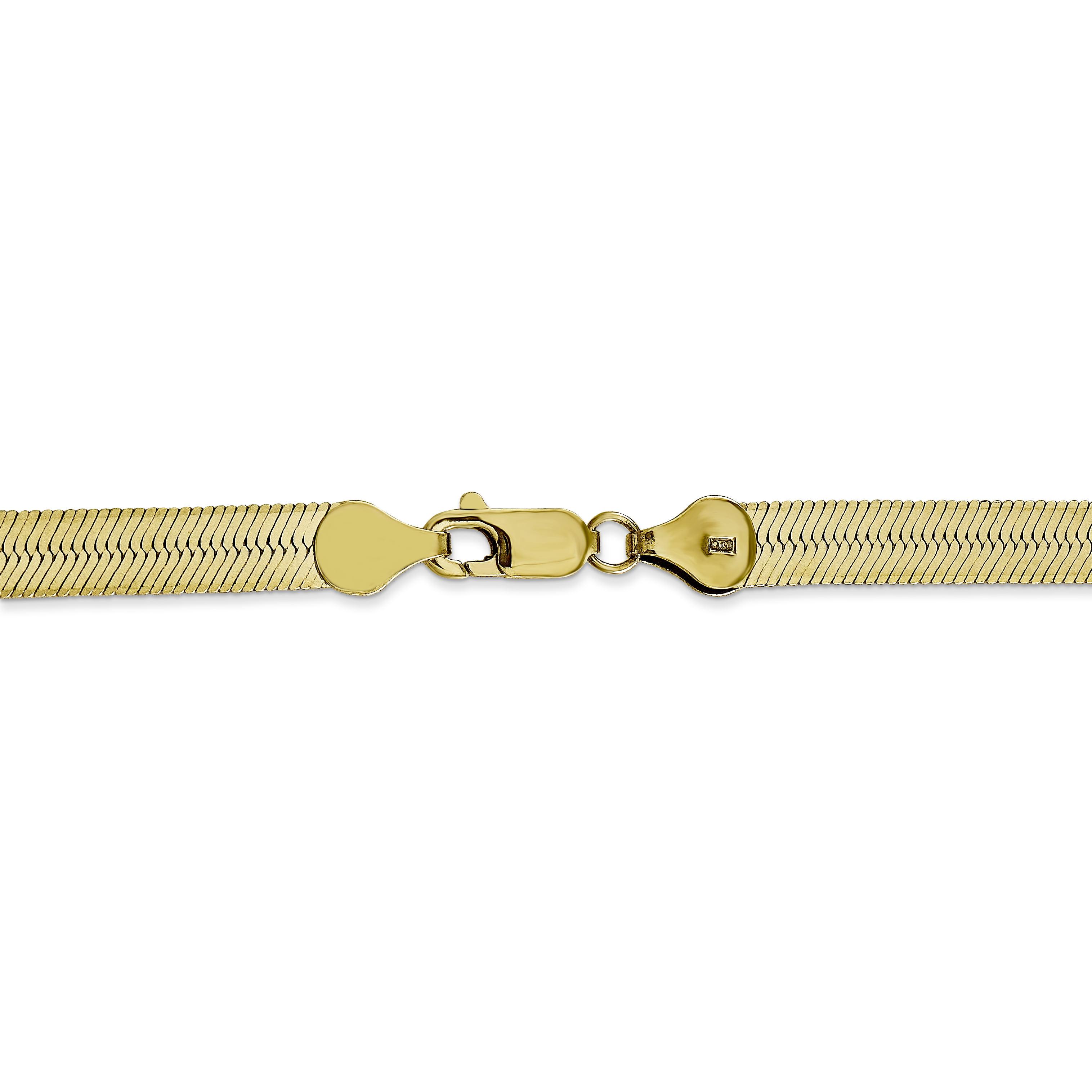 10K Yellow Gold 5.5mm Silky Herringbone Chain 16 Inch - image 2 of 5