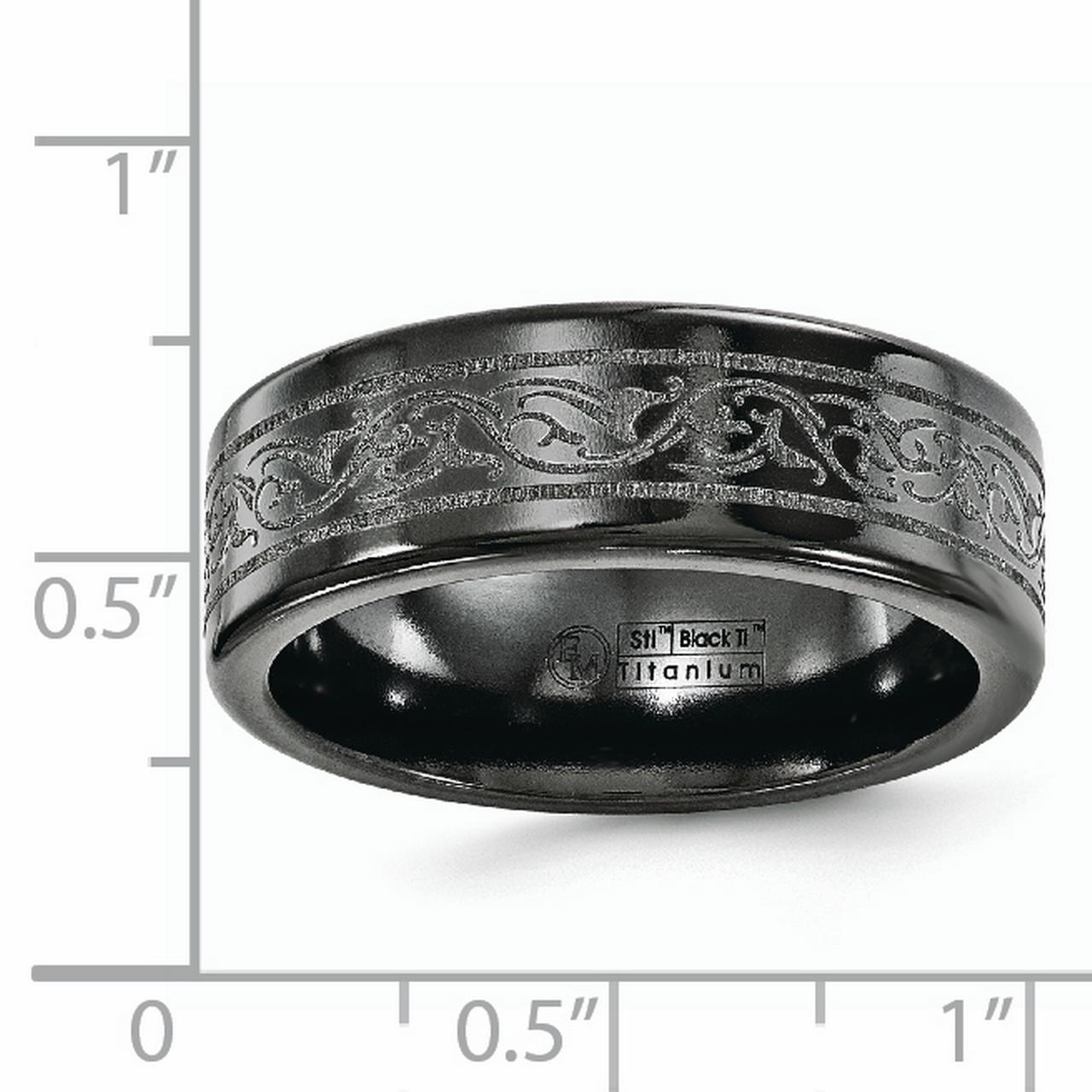 Bridal Wedding Bands Decorative Bands Edward Mirell Black Ti Grey Grooves 6mm Band Size 7