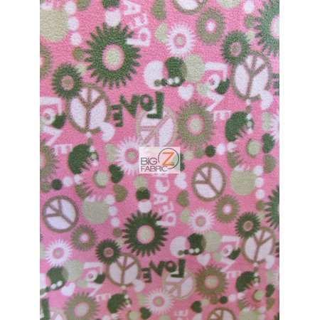 David Textiles Fleece Printed Fabric / Peace & Love Pink / Sold By The Yard for $<!---->