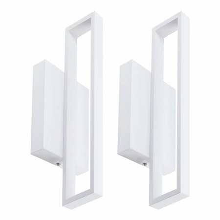 LEONLITE 2 Pack Surface Mounted Wall Sconce, 12W (50W Halogen Equivalent) LED Square Wall Lights, 600lm LED Wall Lights, Decorative Light, 6000K