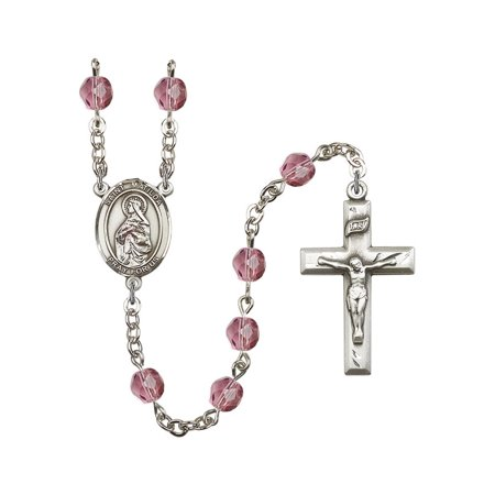 St. Matilda Silver-Plated Rosary 6mm February Purple Fire Polished Beads Crucifix Size 1 3/8 x 3/4 medal charm
