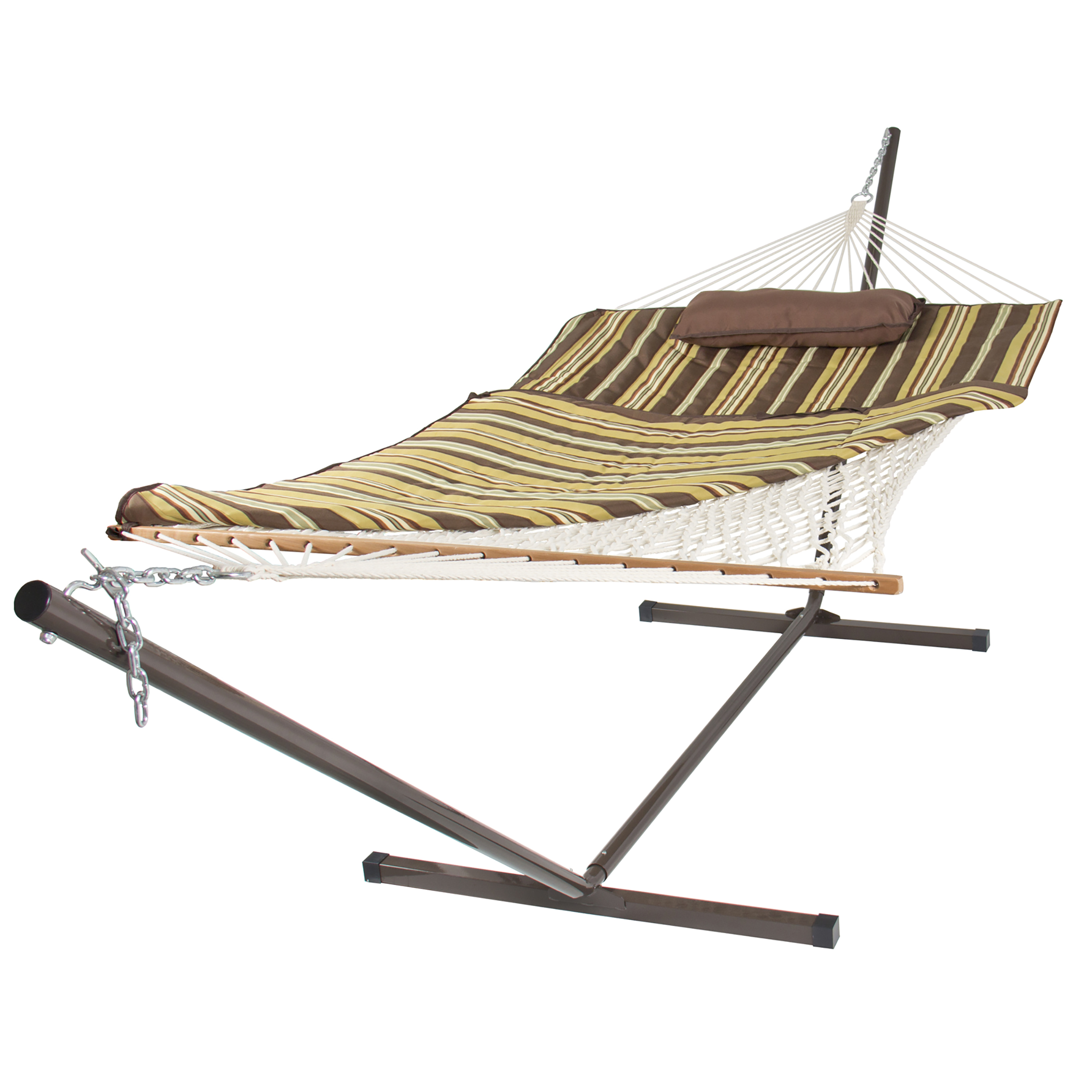 Best Choice Products 12ft Outdoor Cotton 2-Person Double Hammock Set w/ Stand, Pad, Pillow - Brown