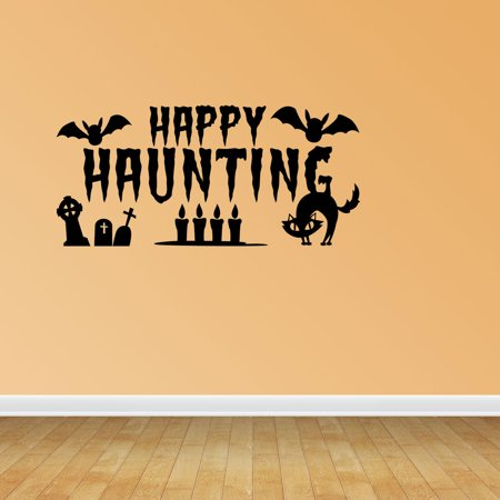 Wall Decal Quote Halloween Scene Halloween Decal Happy Haunting With Bats Wall Decal JP669 - Work Related Halloween Quotes