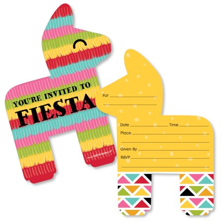 Let's Fiesta - Shaped Fill-In Invitations - Mexican Fiesta Invitation Cards with Envelopes - Set of 12 - Invitaciones Para Fiestas De Halloween