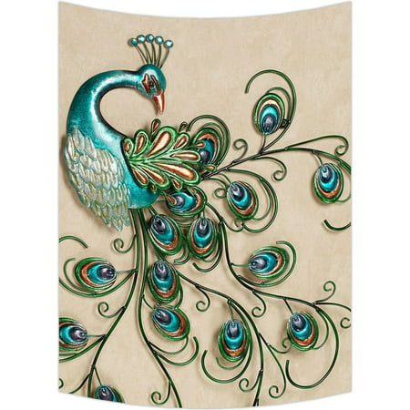 Bronze Feather Tapestry - GCKG Beautiful Peacock Popular Peacock Feathers Wall Art Tapestries Home Decor Wall Hanging Tapestry Size 60