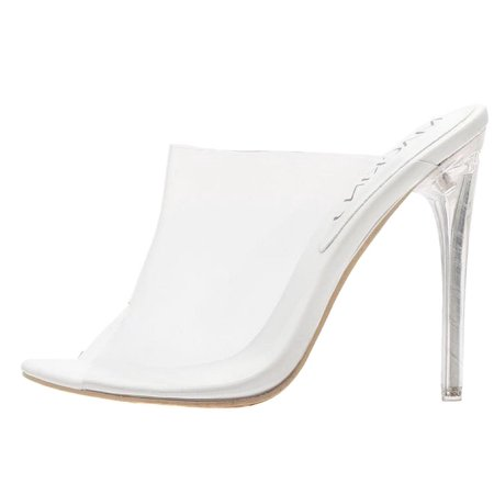 Stiletto Heel Slingback Pumps - 213-84 Lucite Clear PVC Mules Slip On Open Toe Stiletto Heel Pumps White