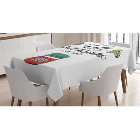 Hope Tablecloth, Hand Drawn Jam in a Jar Brush Lettering with Romantic Hearts Hope is Sweet Surprises, Rectangular Table Cover for Dining Room Kitchen, 60 X 84 Inches, Multicolor, by Ambesonne (Jars For Sweet Table)