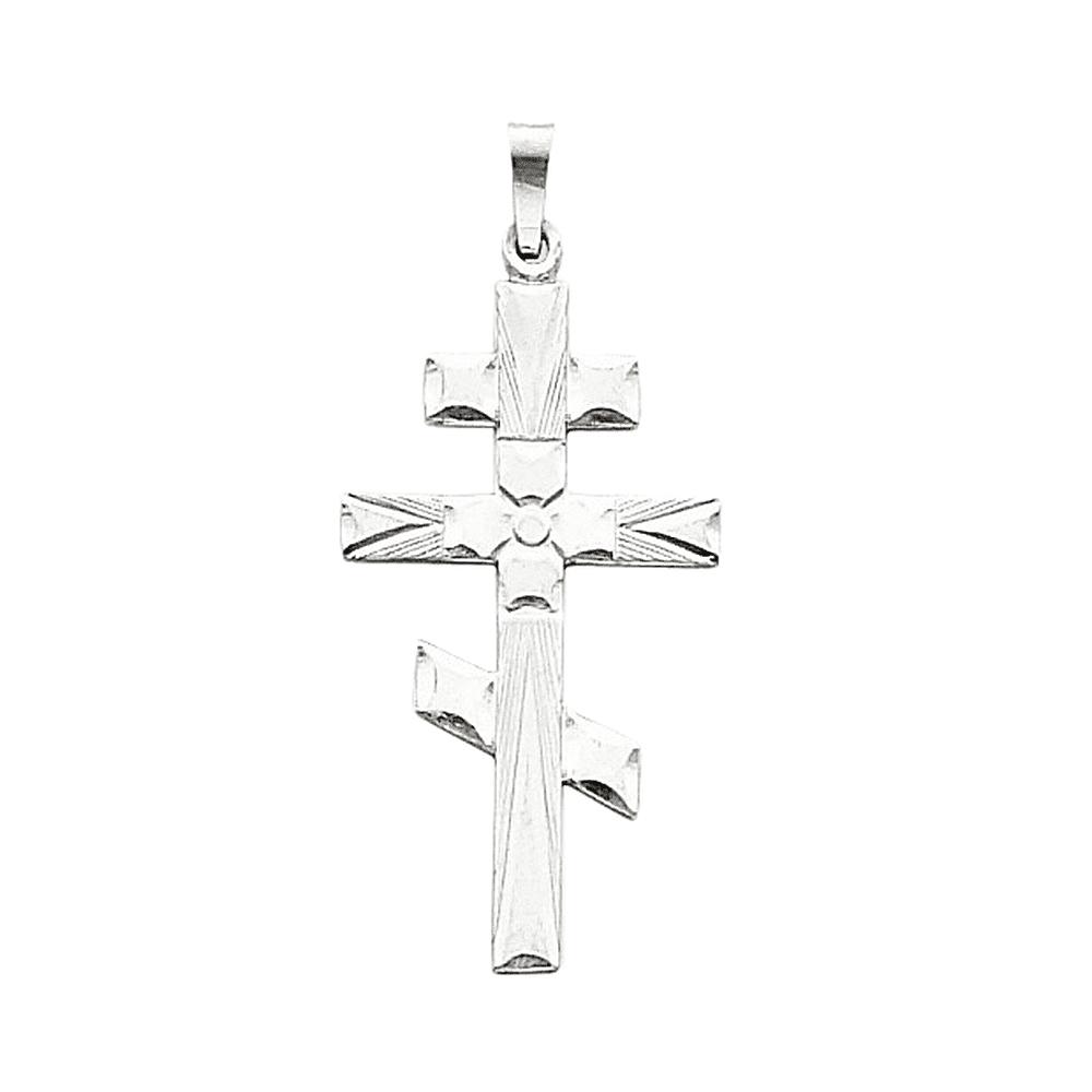 Gemaffair 14K White Gold Eastern Orthodox Cross Charm Pen...