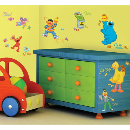 Sesame Street Peel & Stick Wall Decals, 45 count (Sesame Street Vampire Laugh)
