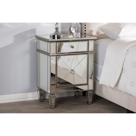 Baxton Studio Claudia Hollywood Regency Glamour Style Mirrored (Glam Silver Mirrored Nightstand By Baxton Studio)