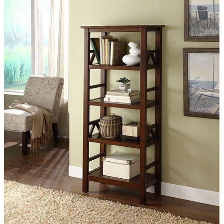 Coaster Cappuccino Corner Bookcase Linon Home Decor Products Titian 4 Shelf Antique Tobacco