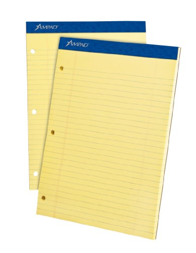 "Ampad Double SHeet Legal-ruled Writing Pad 100 SHeet 15 Lb 8.50"" X 11.75"" 100   Pad Canary Paper... by Ampad"